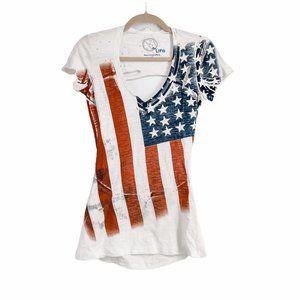 Blue life USA stars & stripes distressed tee XS